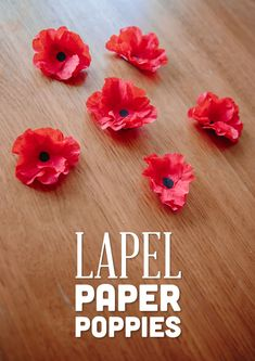 # Remembrance Day - November 11 # Lovely and simple to make paper lapel poppies. Perfect for seniors to make and wear for Remembrance Day. November Crafts, 22 November, Thanksgiving Games For Kids, Thanksgiving Crafts, Thanksgiving Table, Crafts For Seniors, Crafts For Kids, Daycare Crafts, Toddler Crafts