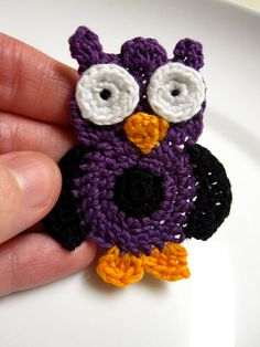 Crochet Owl Applique  Purple by slappytheseal on Etsy, $5.00