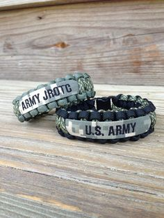 Military Paracord Bracelet with Name Tape / Army / by CADETcouture