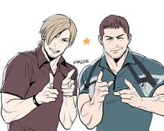 Aww Leon and Chris. Resident Evil 6 fan art