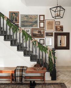 It started with hanging some garland, and next thing I know I had nails and art in hand, and now we have another gallery wall! I *think*… Everything But The House, I Spy Diy, The Tile Shop, Foyer Decorating, Christmas Home, Christmas 2019, Stairways, Home Renovation, Wall Design