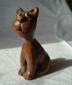 Ceramic cat Miniature sculpture Funny cat Cute kitty