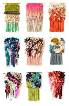 Tissage - Colorful woven wall hangings - from Jujujust Weaving Textiles, Tapestry Weaving, Loom Weaving, Wall Tapestry, Tapetes Diy, Textiles Techniques, Weaving Projects, Woven Wall Hanging, Fabric Manipulation
