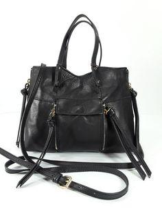 f0eb7dfa50f8 Kooba Authentic Black Genuine Leather Everette Mini Crossbody Handbag Purse   Kooba  MessengerCrossBody Cross Body