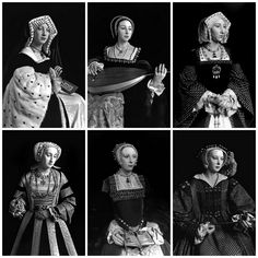 Side by sides of the wax figures of the Six Wives of Henry VIII as photographed by Hiroshi Sugimoto