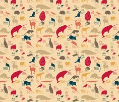 Obscure Animals Alphabet #fabric by maile on Spoonflower...for my daughter's room, methinks.
