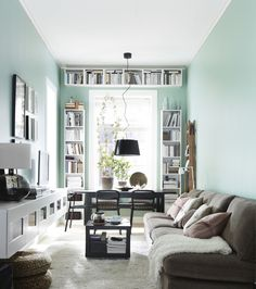 Narrow living room with desk and bookshelves at the window