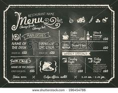 Restaurant Food Menu Design with Chalkboard Background - stock vector