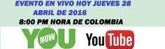 Mi invitación especial a participar del Evento En Vivo jueves 28 de Abril de 2016  a la 8:30 de la noche hora de Colombia. Donde atiendo consultas y preguntas.  https://www.youtube.com/watch?v=my9Mpi3Ls18