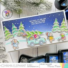 mama elephant   design blog: STAMP HIGHLIGHT: Tree Picking Mama Elephant Cards, Girl Gnome, 9th Anniversary, Christmas Cards, Christmas Tree, Elephant Design, Pastel Colors, Cardmaking
