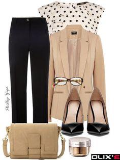 Black pants + Neutral blazer + print blouse