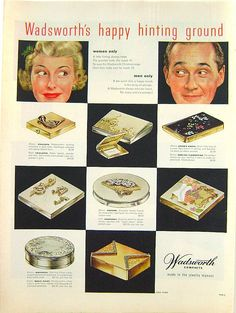 1957 Wadsworth Compacts Ad - Vintage Fashion Magazine Advertisements on Ruby Lane
