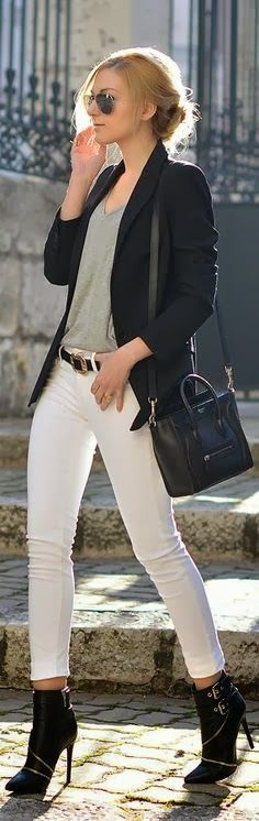 Black Coat And White Straight Pant With Shade v