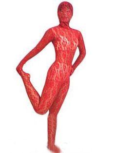 Red Transparent Lace Velvet Silk Zentai Suit #sexy #lace