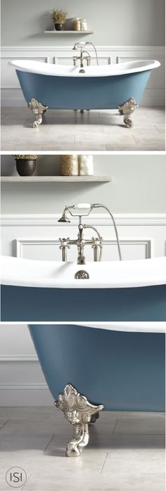 """We love how this 72"""" Lena Cast Iron Clawfoot Tub in Slate Blue lets you customize the metal finish of your lion claw feet. If you're going for a traditional feel, the brass is sure to do the trick: if you're looking to give your master suite a modern feel, this chrome finish is sure to shine."""