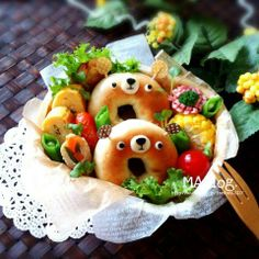 Bagel bear bento. Look at their ears!