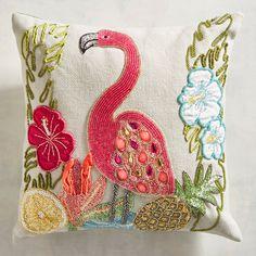 Beaded Flamingo Pillow