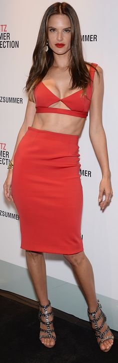 Was it hot at the Schutz Summer launch, or was it just Alessandra Ambrosio? Safe to say it had at least a little something to do with the model and her red Alessandra Ambrosio, Sublime Creature, Red Flare, Midi Dress With Sleeves, Blazer Dress, Club Dresses, Mini Dresses, Italian Fashion, High Waisted Skirt