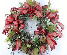 Christmas Front Door Wreath-Holiday Wreath For Door-Red Berry Wreath-Christmas Wreath With Birdhouse-Rustic Christmas Wreath-Holiday Decor by WreathRibbonsAndBows on Etsy Front Door Christmas Decorations, Christmas Front Doors, Christmas Wreaths To Make, Holiday Wreaths, Rustic Christmas, Winter Wreaths, Spring Wreaths, Christmas Door, Christmas 2019
