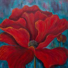 Teal poppy wall art  Poppy paintings Red by JulieMcDowellDesigns