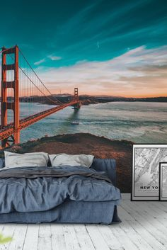 Golden Gate 2 Wall Mural - Wallpaper City Wallpaper, Home Wallpaper, Luxury Bedrooms, Luxurious Bedrooms, Artistic Room, Gate 2, Wall Decals For Bedroom, Golden Gate Bridge, Wall Murals