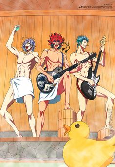 The guys of Bakumatsu Rock (幕末Rock) performing unplugged and unencumbered—illustrated by animation director Kōdai Kitahara (北原広大) in the November issue of Animedia Magazine