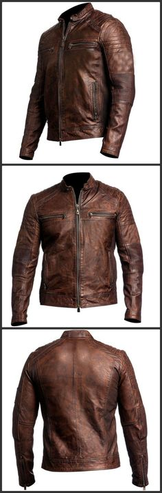 Men's Biker Distressed Café Racer Leather Jacket