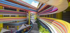 Australian Architectural firm Studio 505 offer up an award winning design for the Nanyang Primary school in Singapore, that features a very colourful facade Colour Architecture, Australian Architecture, School Architecture, Architecture Details, School Building Design, School Design, Singapore School, Kindergarten Design, Colourful Buildings