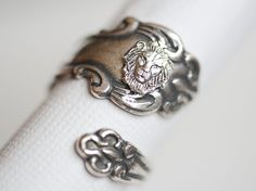Antique Spoon Ring,Silver Lion Spoon Ring,Antique Ring,Silver Ring,Wrapped,Adjustable,Bridesmaid.