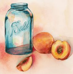 kitchen art Canning Peaches Archival Print by amberalexander on Etsy