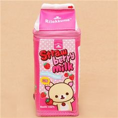 pink Korilakkuma Rilakkuma bear milk box pencil case San-X