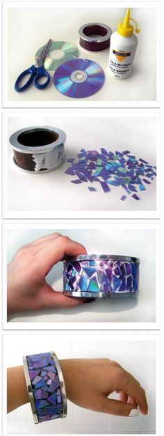 DIY Old CD Bracelet