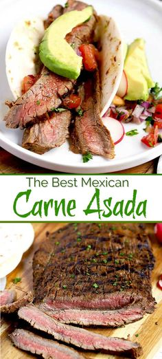 Asada Recipe - marinated flank steak is quickly grilled over high heat until a bit charred on the outside, perfectly pink in the middle, super tender, juicy and amazingly delicious. Serve Carne Asada on its own or add it to tacos, burritos or salads. Flank Steak Tacos, Steak Fajitas, Round Steak Marinade, Steak Braten, Marinated Flank Steak, Flank Steak Recipes, Flank Steak Fajita Marinade, Grilling Recipes, Meat Recipes