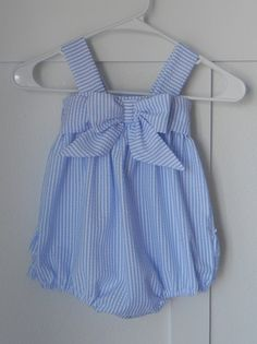 Blue Ruffled Seersucker Bubble Romper Made to by AddilynMichelle, $32.00