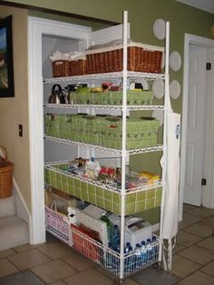 Could possibly do this with the closet in the hall  Closet roll out shelving. Brilliant! would like to do this with linen closet & broom closet. Need carpenter to take off door & molding, cut wall to (actual) width of closet, then make a new door front attached to slide out shelving on castors. Will aleviate trying to reach around orners in closet & make better use of space that is there.