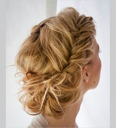 i love this.it's french fishtail braids the are kinda pulled apart (sorta) to make them messier looking.then put into a bun. Beautiful Hair and Makeup,Bridal Hair And Makeup,Hair,Hair & Beauty,Ha Chic Hairstyles, Popular Hairstyles, Pretty Hairstyles, Braided Hairstyles, Wedding Hairstyles, Braided Updo, Twisted Updo, Wedding Updo, Prom Updo