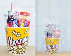 Popcorn pot stuffed with treats to eat during a movie. Diy Best Friend Gifts, Ideias Diy, Inspirational Gifts, Creative Gifts, Boyfriend Gifts, Craft Gifts, Cute Gifts, Diy Kits, Christmas Diy