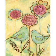 Green Love Birds Canvas Reproduction and Posh Inspiration 1-866-Poshtot in Designer Rooms : Eisleys Summer Escape at PoshTots