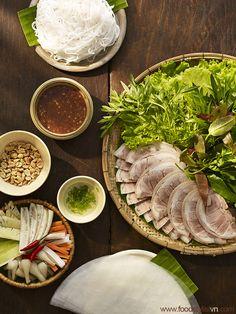 Gio heo luoc mam tom cha vietnam food stylist Giò heo luộc chấm mắm tôm chà