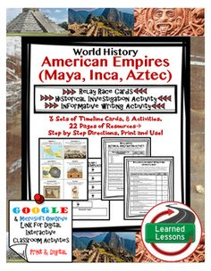 World History American Empires (Aztec, Maya, Inca) Timeline Relay, Research…