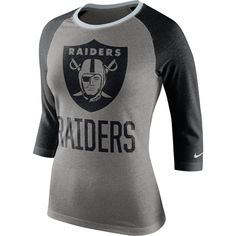 6e4b7f8443d8c Oakland Raiders Nike Women s Blocking Tri-Blend 3 4 Sleeve Raglan T-Shirt -  Gray