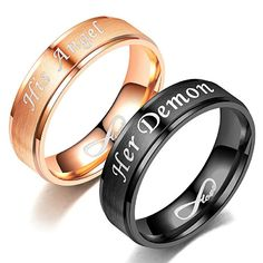 """Hot Sale Fashion Couple Rings for Lovers Engagement Rose Gold""""His Angel""""Black""""Her Demon"""" Romantic Stainless Steel Love Infinity Couple Ring His and Hers Matching Titanium Rings Unique Gift for Lovers Wedding Jewelry Stainless Steel Matching Wedding Rings, Black Wedding Rings, Matching Rings, Wedding Ring Bands, Wedding Jewelry, Matching Couples, Matching Set, Gold Wedding, Promise Rings For Couples"""