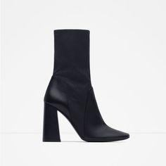 9d4b1f21cb1 Image 1 of LEATHER HIGH HEEL ANKLE BOOTS from Zara Zara Boots
