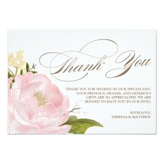 Watercolor Wedding Thank You Romantic Peony Flower Thank You Card