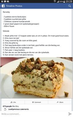 Pepermint tert Tart Recipes, Sweet Recipes, Dessert Recipes, Cooking Recipes, Yummy Recipes, South African Desserts, South African Recipes, Peppermint Crisp Tart, Kos