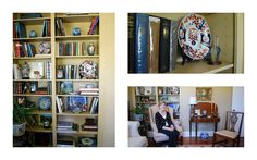 Carla's built-in bookshelves with her curated assortment of first edition books mixed in with her oriental collection.