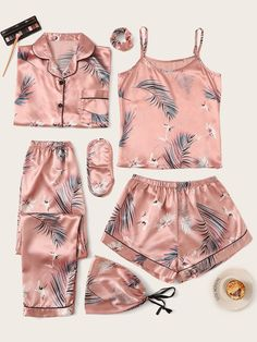 Check out this Crane & Tropical Print Satin Pyjama Set on Shein and explore more to meet your fashion needs! Cute Sleepwear, Lingerie Sleepwear, Sleepwear Women, Loungewear, Cute Pajama Sets, Cute Pjs, Cute Pajamas, Pyjama Sets, Cute Lazy Outfits