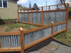 Beneficent proposed metal working projects Look at Cheap Privacy Fence, Privacy Fence Designs, Diy Fence, Backyard Fences, Garden Fencing, Fence Ideas, Yard Ideas, Yard Privacy, Decking Ideas