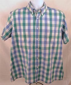 Editions By Van Heusen Men's Size Large Short Sleeve Button Down Shirt