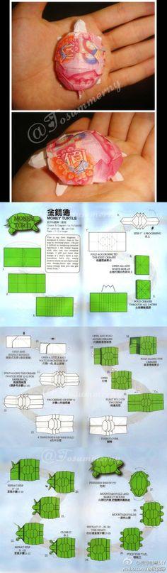 oragami turtle 金钱龟DIY. Must somehow make sense of this...